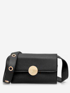 Minimalist Round Metal Crossbody Bag - Black