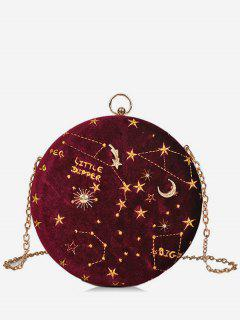 Embroidery Star Round Shape Crossbody Bag - Red Wine