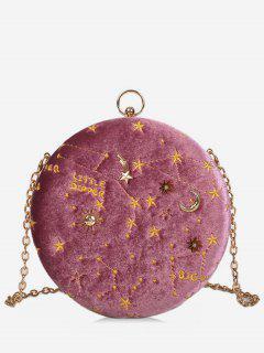 Embroidery Star Round Shape Crossbody Bag - Light Pink