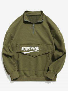 Kangaroo Pocket Letter Half Zip Sweatshirt - Army Green Xl