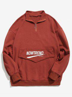 Kangaroo Pocket Letter Half Zip Sweatshirt - Red 2xl