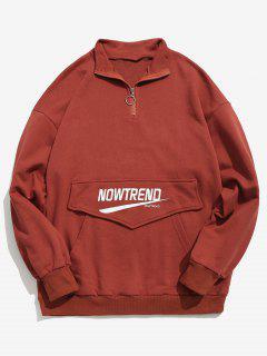 Kangaroo Pocket Letter Half Zip Sweatshirt - Red M