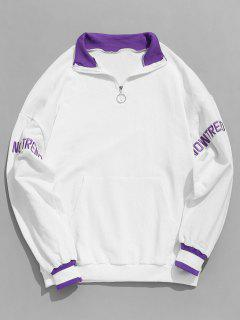 Sweat-shirt Lettre Brodée à Brodure Rayée à Demi-Zip - Blanc Xl