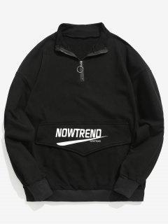 Kangaroo Pocket Letter Half Zip Sweatshirt - Black Xl