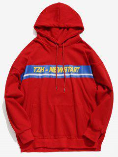 Kangaroo Pocket Stripe Letter Hoodie - Red M