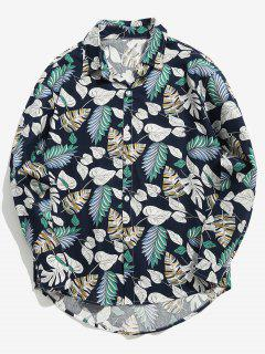 Varied Leaf Print Shirt - Blue M