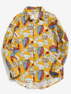 Varied Leaf Print Shirt - Yellow Xs