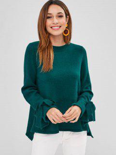 Tie Sleeve Tunic Sweater - Greenish Blue