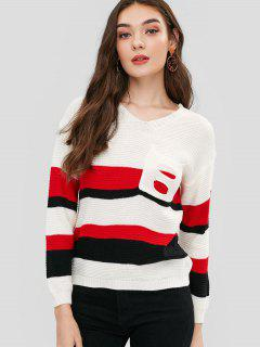 Pockets Stripes Schnür-Pullover - Weiß