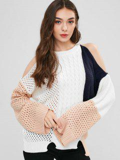 Color Block Cold Shoulder Openwork Sweater - White