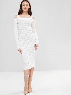 Robe Pull Fourreau à Epaule Dénudée Bouclée - Blanc