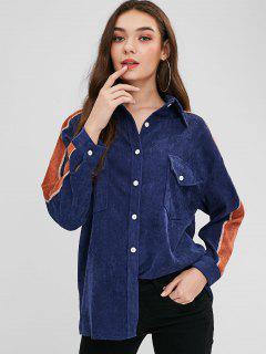 Chemise Contrastée Boutonnée En Velours Côtelé - Bleu Lapis M