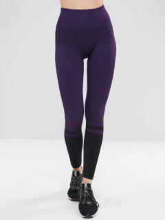 Athletic Workout Gym Hohe Taille Leggings - Lila Iris M