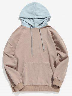 Kangaroo Pocket Back Letter Denim Hooded Sweatshirt - Light Khaki L