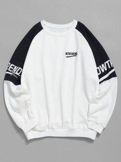 Sweat-shirt Lettre En Blocs De Couleurs à Manches Raglan - Blanc S