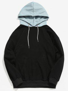 Kangaroo Pocket Back Letter Denim Hooded Sweatshirt - Black L