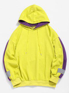 Stripe Trim Applique Hoodie - Yellow Xl