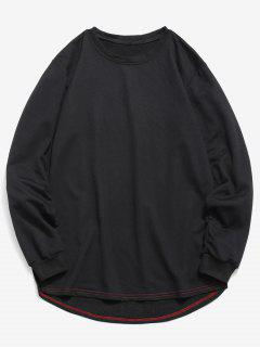 Solid Color High Low Sweatshirt - Black M