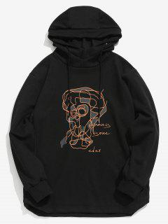 ZAFUL Contour Face Drawing Pullover Hoodie - Black L