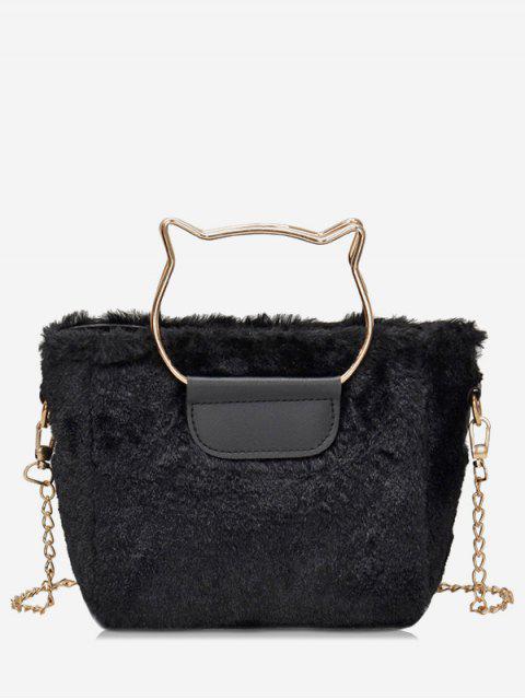 shops Cat Shape Handle Faux Fur Crossbody Bag - BLACK  Mobile