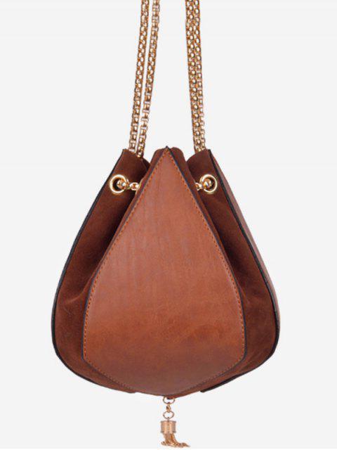 affordable Mini Tassel String Design Crossbody Bag - BROWN  Mobile