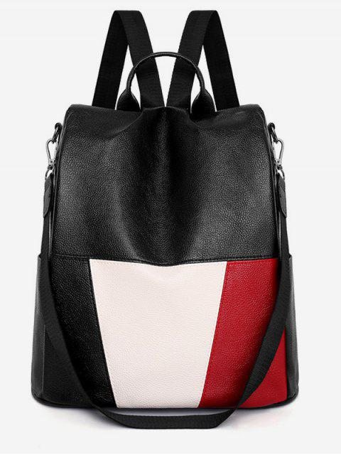 womens PU Leather Panel School Backpack - BLACK  Mobile