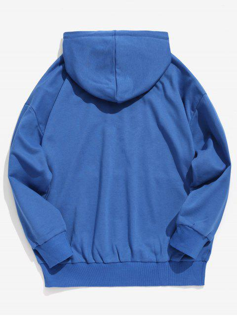 chic Kangaroo Pocket Stripe Letter Hoodie - BLUE 2XL Mobile
