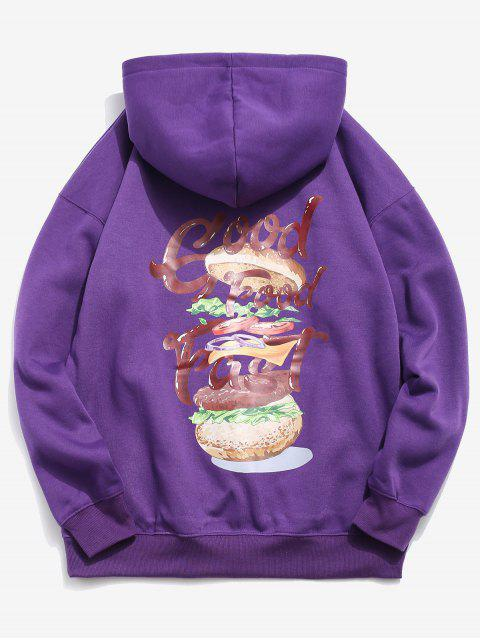 affordable Hamburger and Letter Print Hoodie - PURPLE IRIS M Mobile