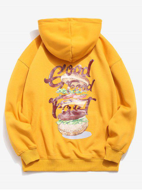buy Hamburger and Letter Print Hoodie - BEE YELLOW S Mobile