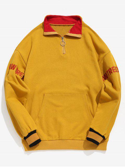Sweat-shirt Lettre Brodée à Brodure Rayée à Demi-Zip - Jaune XL Mobile
