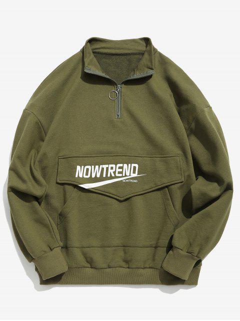 Sweat-shirt Lettre à Demi Zip avec Poche Kangourou - Vert Armée  L Mobile