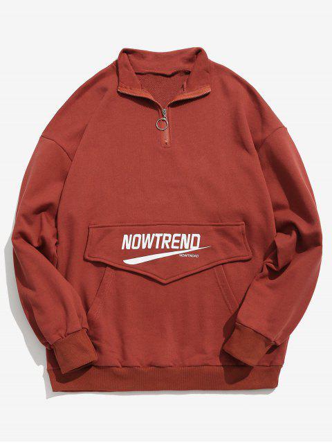 Sweat-shirt Lettre à Demi Zip avec Poche Kangourou - Rouge L Mobile