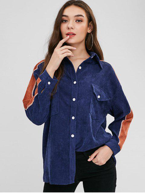lady Button Up Contrast Corduroy Shirt - LAPIS BLUE XL Mobile
