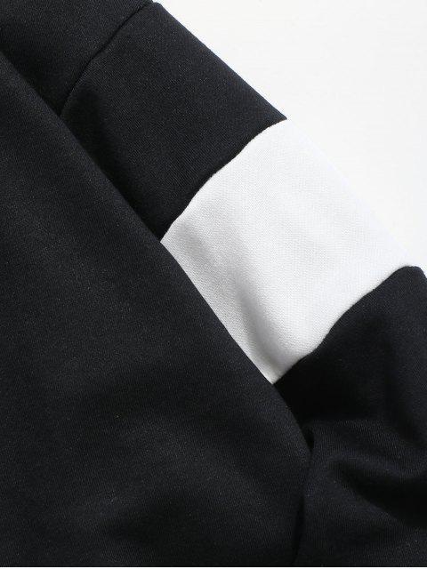 outfits Kangaroo Pocket Color Block Letter Embroidery Sweatshirt - BLACK S Mobile
