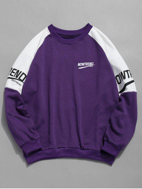 online Letter Raglan Sleeves Color Block Sweatshirt - PURPLE L Mobile