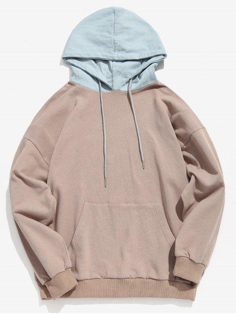 latest Kangaroo Pocket Back Letter Denim Hooded Sweatshirt - LIGHT KHAKI XL Mobile