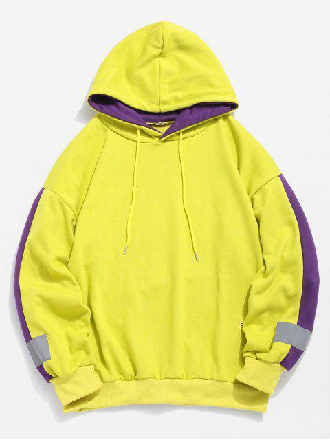 fashion Stripe Trim Applique Hoodie - YELLOW S Mobile