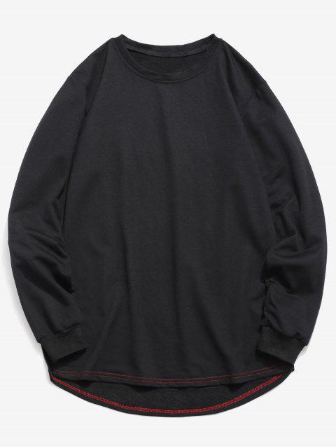 unique Solid Color High Low Sweatshirt - BLACK S Mobile