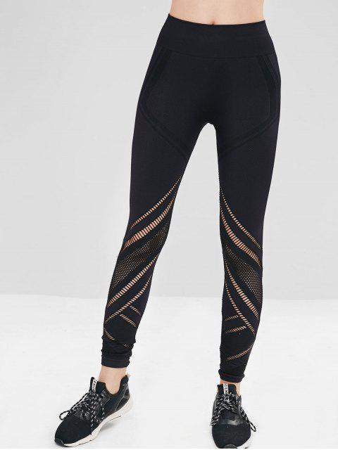online ZAFUL Seamless Sports Perforated Gym Leggings - BLACK L Mobile