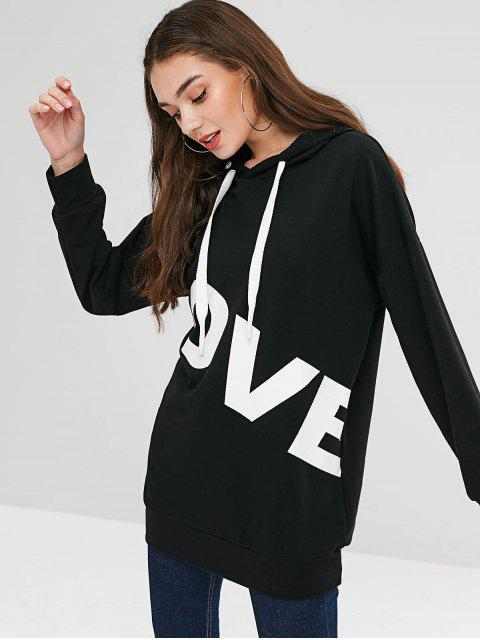 womens ZAFUL Drawstring Graphic Hoodie - BLACK ONE SIZE Mobile