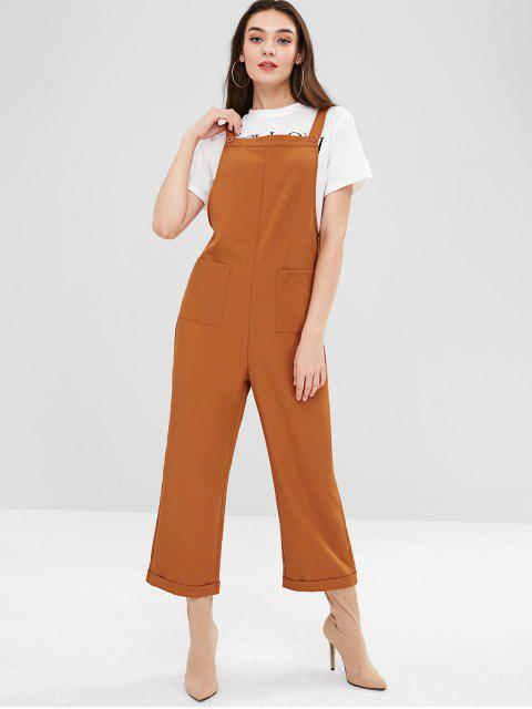 women's ZAFUL Pockets Square Wide Leg Overalls - TIGER ORANGE M Mobile