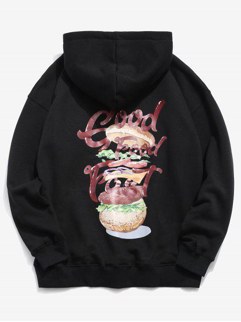 chic Hamburger and Letter Print Hoodie - BLACK XL Mobile