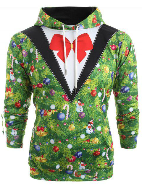 womens Christmas Tree Blazer Print Drawstring Hoodie - MEDIUM SPRING GREEN 2XL Mobile