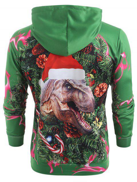 Sudadera con capucha de bolsillo de canguro con estampado de dinosaurio 3D - Mar Verde Mediana M Mobile