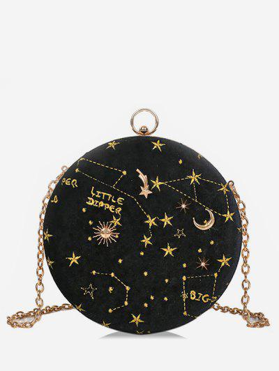 b071575fea31 Embroidery Star Round Shape Crossbody Bag - Black ...