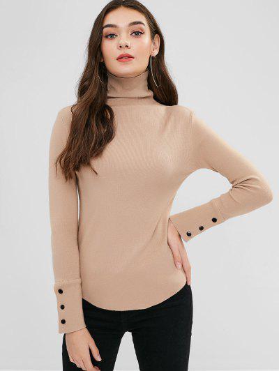 0efabe312fd547 Buttoned Cuffs Turtleneck Knitwear - Camel Brown
