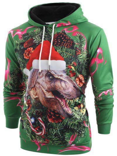 3D Christmas Dinosaur Print Kangaroo Pocket Hoodie