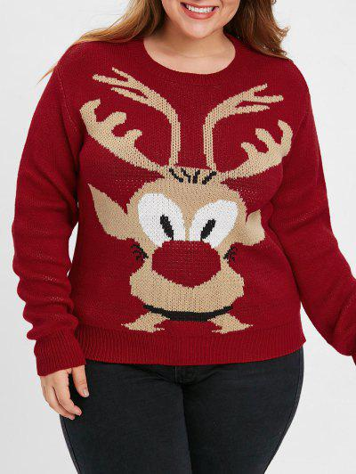 Plus Size Christmas Elk Sweater - Red 1x
