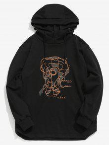 ZAFUL كونتور وجه الرسم البلوز هوديي - أسود L