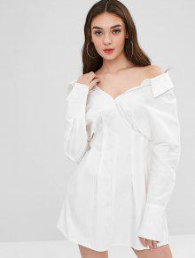فستان ميني مطوي من التفصيل - أبيض